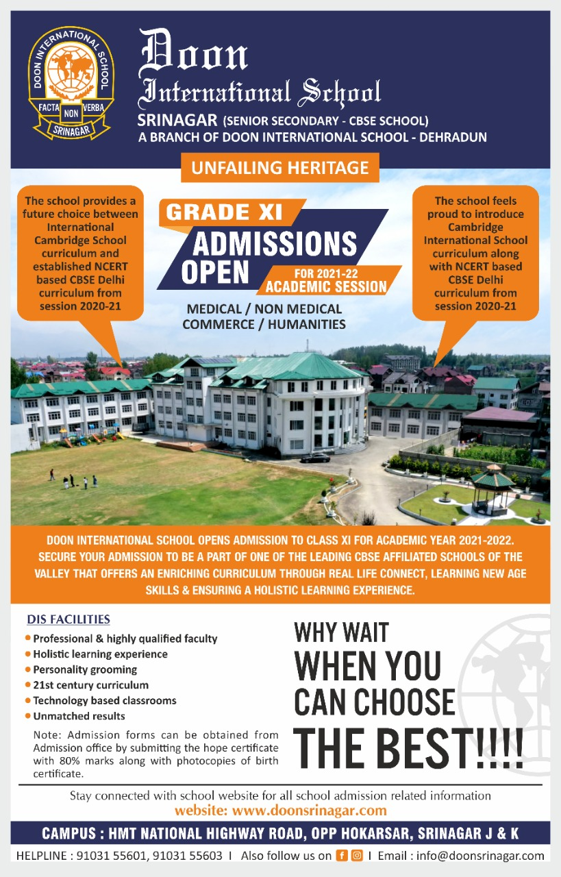 Admission Notification Grade XI - Session 2021